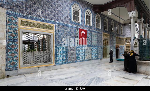 Istanbul, Turkey - April 24, 2017: Exterior view of the shrine of Hazrat Abu Ayub Ansari, Eyup Sultan Mosque - Stock Image