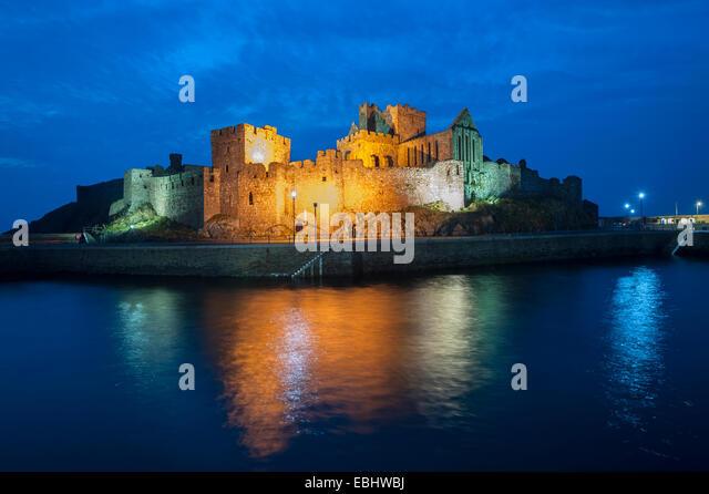 Peel Castle illuminated,Peel Isle of Man - Stock Image