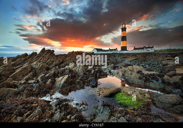 St Johns lighthouse in county Down at sunset. - Stock-Bilder