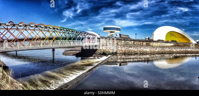 Panoramic view to Bridge to Niemeyer Center in Aviles, Asturias - Spain - Stock Image