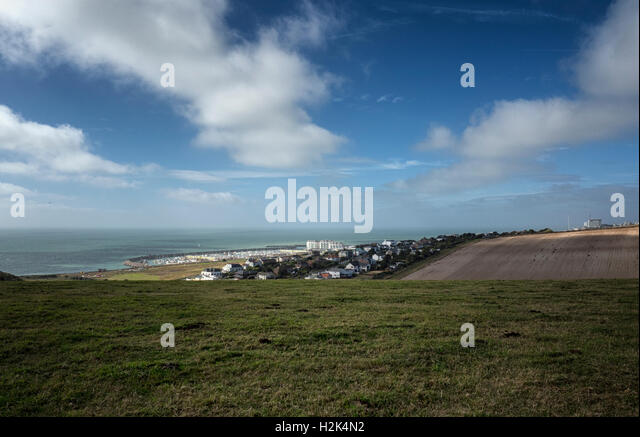 Roedean, Brighton Marina and the western English Channel from Cattle Hill in the South Downs National Park, East - Stock Image
