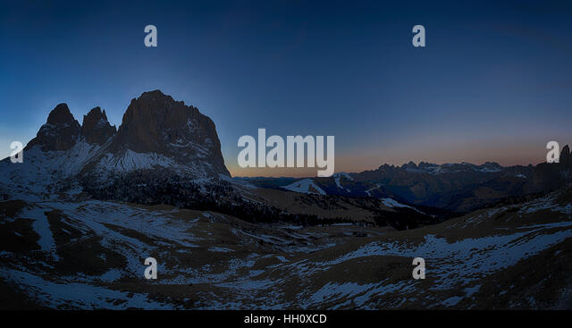 Group of Langkofel at the sunset seen from Sella Pass in a winter season, Trentino-Alto Adige - Dolomites - Stock Image