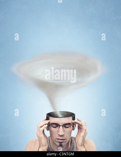 Conceptual picture - tornado head man - Stock-Bilder