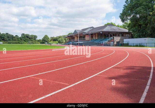 Running track at Thames Valley Athletics Centre, Pococks Lane, Eton, Berkshire, England, United Kingdom - Stock Image