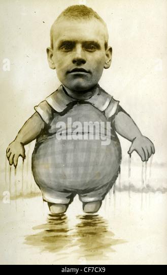 1900s 1800s photo weird portrait man's headshot composite on hand painted clothing short midget - Stock-Bilder
