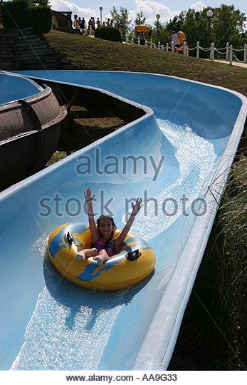 Alabama Decatur Point Mallard Park Waterpark slide tube girl - Stock Image