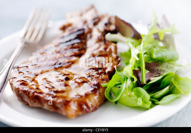 steak and salad - Stock Image