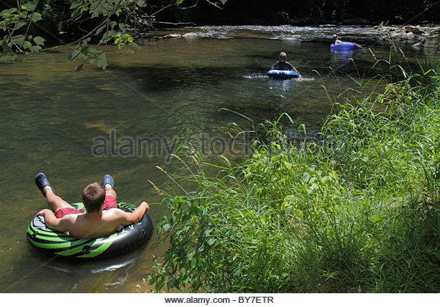 Maryland Harford County Street Rocks State Park Deer Creek recreation tube tubing tubing water sport float free - Stock Image