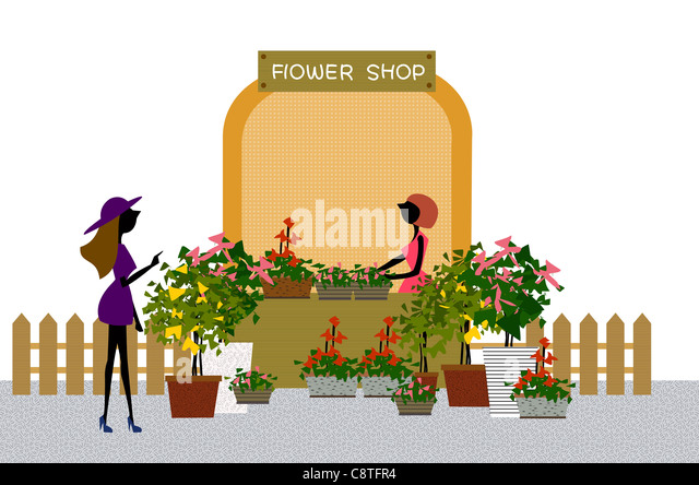 Female At Florist Shop Display - Stock Image