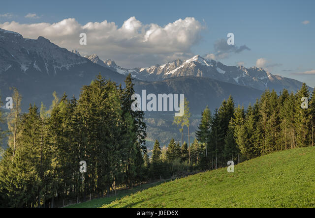 The Zillertal ('Ziller valley') a valley in Tyrol, Austria drained by the Ziller river The widest valley - Stock Image