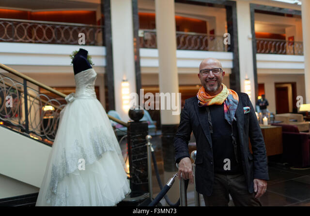 St. Petersburg, Russia, 9th October, 2015. Wedding Creative & Global stylist Mauro Adami exhibits his platinum - Stock Image