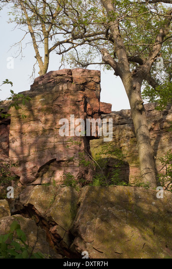 Old Stone Face, a quartzite formation at Pipestone National Monument, Minnesota. - Stock Image