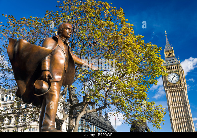 Statue of former prime minister Lloyd George Big Ben London UK - Stock Image