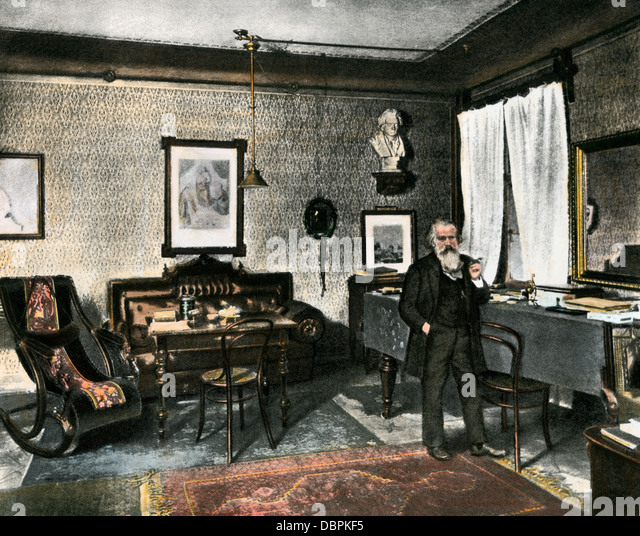 Johannes Brahms in his study, Vienna, 1800s. - Stock-Bilder