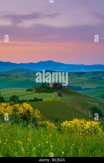 Farmhouse, Val d' Orcia, Tuscany, Italy, RF - Stock-Bilder