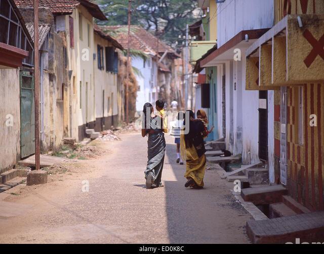 Street scene, Fort Kochi, Kochi (Chochin), Ernakulam District, Kerala, Republic of India - Stock-Bilder