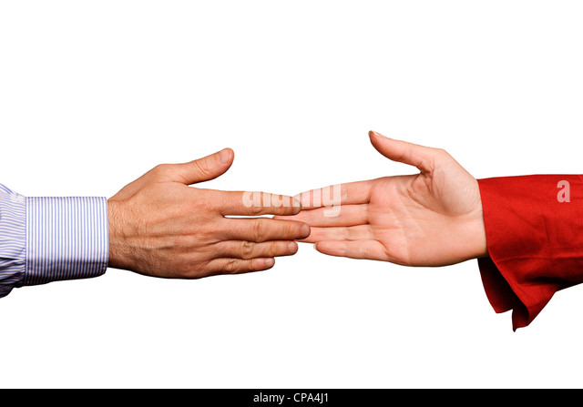 woman and man shaking hands isolated - Stock Image