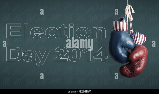 Election Day 2014 - Democrats and Republicans in the campaign - Stock Image