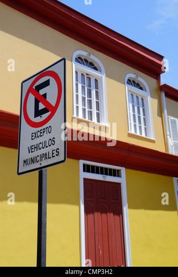 Chile Arica Avenida Rafael Sotomayor street scene neighborhood traffic sign no parking warning restriction international - Stock Image