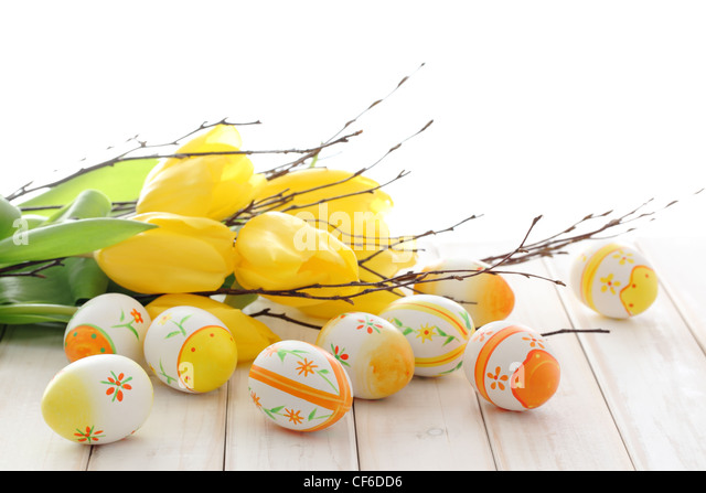 Tulips,easter eggs,silver-bud willow,Happy easter. - Stock Image