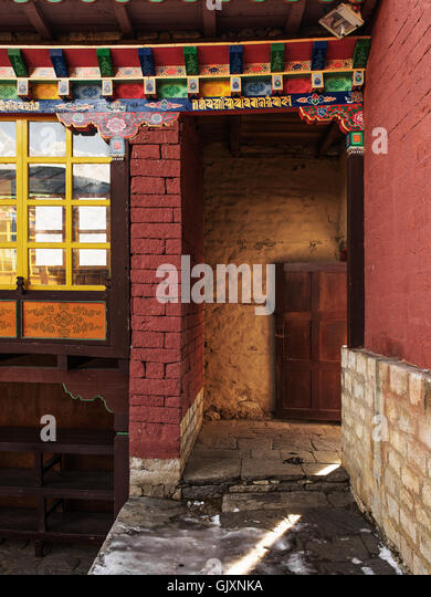 Inside Tengboche Monastery in Nepal's Everest Base Camp - Stock Image