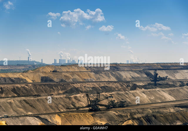 Garzweiler mine and the power plants Frimmersdorf - Stock Image