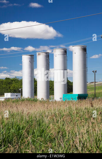 Clean-gas emission stacks at a waste management site, Quebec, Canada - Stock Image