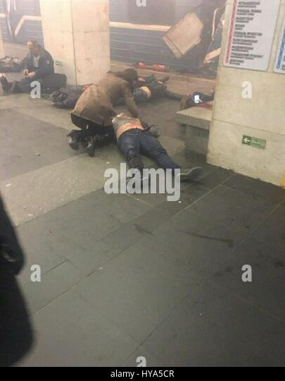 Saint Petersburg, Russia. 03rd Apr, 2017. At least 10 people have been killed after two explosions on the Saint - Stock-Bilder