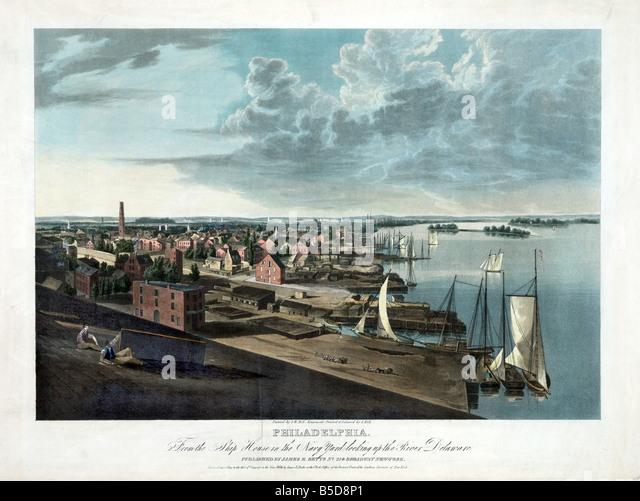 View of the Harbour of Philadelphia around 1880 - Stock Image