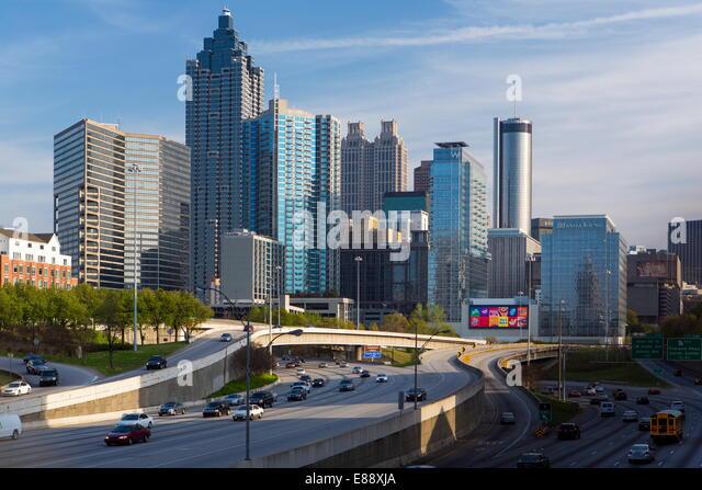 Interstate I-85 leading into Downtown Atlanta, Georgia, United States of America, North America - Stock Image