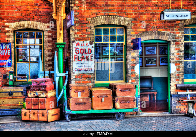 Sheringham North Norfolk UK England luggage travel cases suitcases old nostalgic trunk - Stock Image
