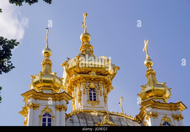 Peterhof Palace gilded  domes of Peter and Paul Cathedral at the Grand Palace near Saint Petersburg, Russia - Stock Image