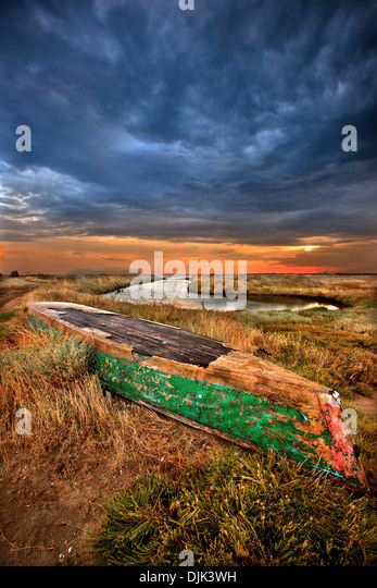 Traditional plava (flat bottomed boat of the shallow waters) at the Delta of Evros river, Thrace, Greece. - Stock Image