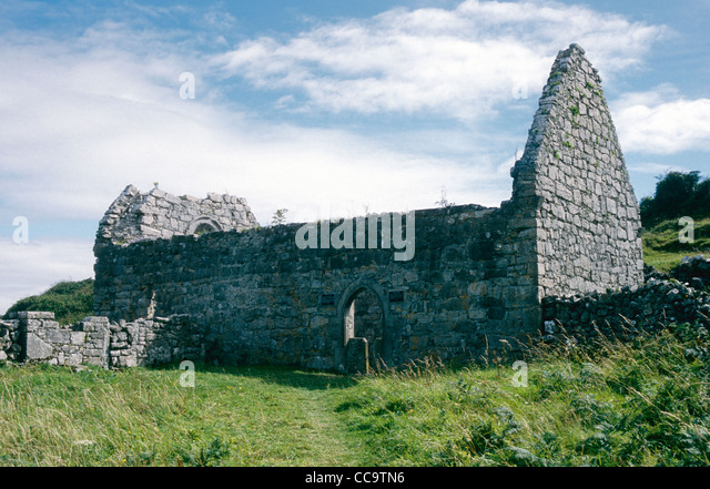 St Kieran's-An early christain ruined church on Inish Mor -Aran Islands -Co Galway Ireland - Stock Image