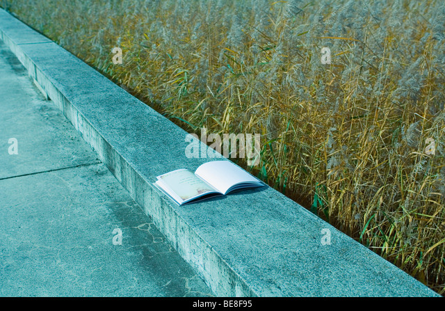 Open book on concrete ledge, grassy field in background - Stock Image