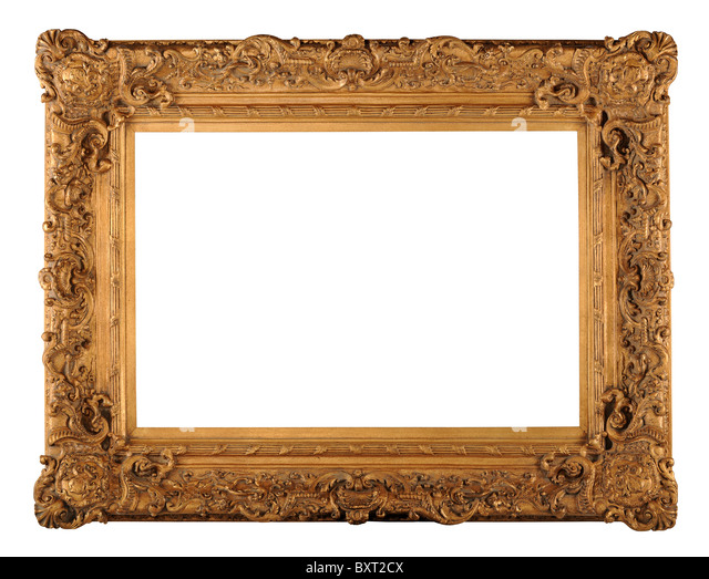Vintage gold frame isolated over white background - With clipping path - Stock-Bilder