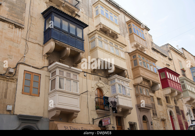Typical malta balconies stock photos typical malta for Traditional balconies