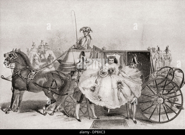 A bride arriving at her wedding in the mid-1800's. - Stock-Bilder