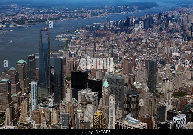 aerial photograph Lower Manhattan, New York City - Stock Image