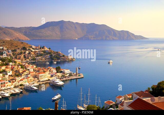 Symi Harbour, Symi, Dodecanese, Greek Islands, Greece, Europe - Stock Image