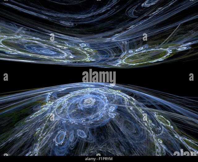 Abstract fractal background - perspective fading into space two planets. Illustration for articles about space, - Stock Image
