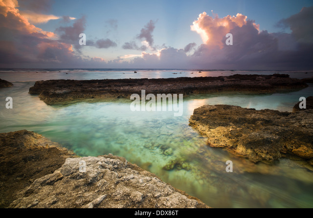 Sunrise shot of the Pacific Ocean side of Bora Bora. French Polynesia - Stock Image