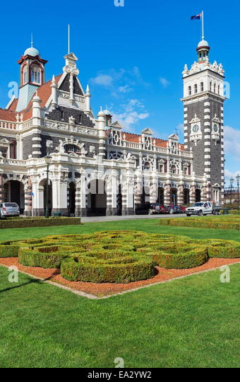 Dunedin Railway Station, Dunedin, Otago, South Island, New Zealand, Pacific - Stock Image