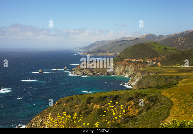 A view of the coastline along Highway One in Big Sur, California. - Stock Image