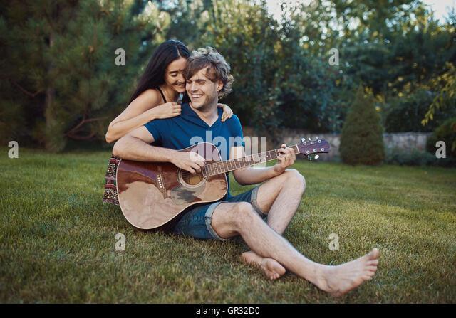 Handsome romantic couple - Stock Image