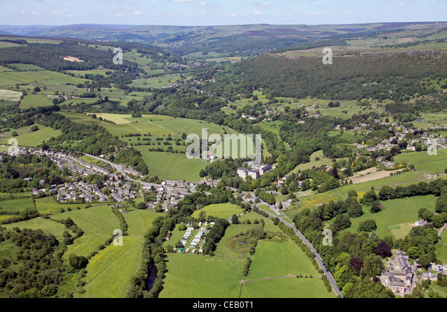 Aerial image taken over the Peak District, Derbyshire - Stock Image
