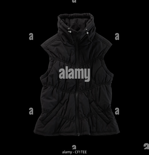 A still life shot of a sleevless puffer jacket - Stock Image