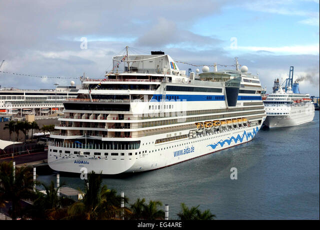Cruise liners docked in Las Palmas de Gran Canaria, Canary Islands - Stock Image