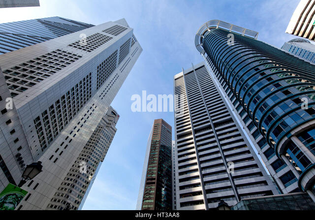 Skyscrapers, financial district, Raffles Place, Singapore - Stock Image