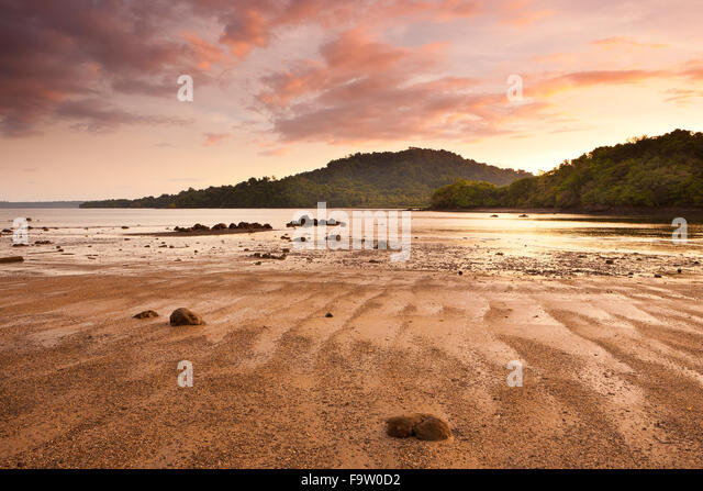 Evening at Coiba island national park, Pacific coast, Veraguas province, Republic of Panama. - Stock-Bilder